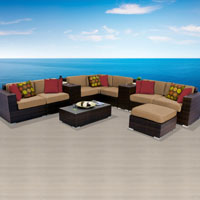Contemporary Ocean View Taupe 11 Piece Outdoor Wicker Patio Furniture Set