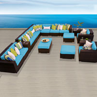 Ocean View Tropical Blue 17 Piece Outdoor Wicker Patio Furniture Set