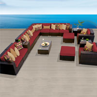 Ocean View Henna Spice 17 Piece Outdoor Wicker Patio Furniture Set