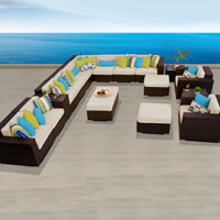Ocean View Ivory 17 Piece Outdoor Wicker Patio Furniture Set