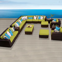 Ocean View Peridot 17 Piece Outdoor Wicker Patio Furniture Set