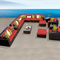 Ocean View Red Spice 17 Piece Outdoor Wicker Patio Furniture Set