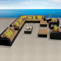 Ocean View Taupe 17 Piece Outdoor Wicker Patio Furniture Set