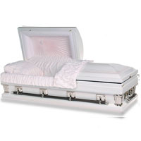 OVERSIZED 18 Gauge Steel Casket (White with Blossom Interior)