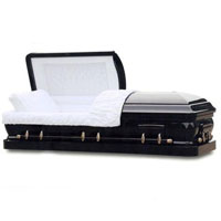Solid Wood Casket - Ebony Black
