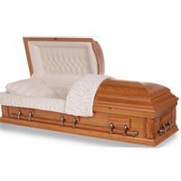 OVERSIZED 18 Gauge Steel Casket - Natural Oak Finish