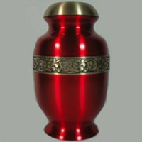 Ruby Fire Brass Urn
