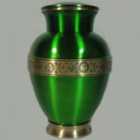 Emerald Fire Brass Urn