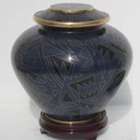 Blue Path Cloisonne Urn