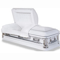 18 Gauge Steel Casket - Antique White Finish with Platinum Highlights