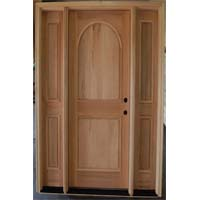 Unfinished Solid Wood White Mahogany Exterior Pre-Hung Door With Sidelights