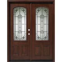 Solid Wood Mahogany 30'' Arch Exterior Double Door Unit