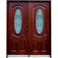 Solid Wood Mahogany 30'' Oval Exterior Double Door Unit