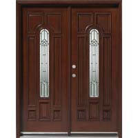Solid Wood Mahogany 30'' Center Arch Exterior Double Door Unit