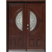 Solid Wood Mahogany 30'' Center Moon Exterior Double Door Unit