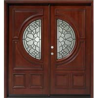 Solid Wood Mahogany 36'' Half Circle Exterior Double Door Unit