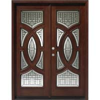 Solid Wood Mahogany 30'' Circular Exterior Double Door Unit