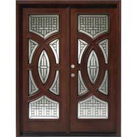 Solid Wood Mahogany 30 Circular Exterior Double Door Unit