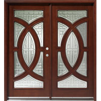 Solid Wood Mahogany 36'' Circular Exterior Double Door Unit