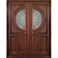Solid Wood Mahogany 36'' Center Moon Exterior Double Door Unit