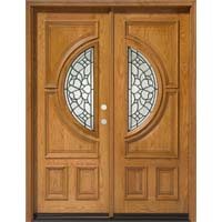 Solid Wood Red Oak 30'' Center Moon Exterior Double Door Unit