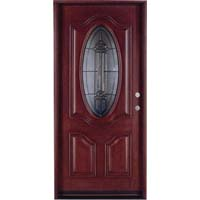"Solid Wood Mahogany 36"" Single Oval Pre-Hung Exterior Door"