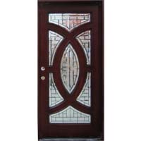 "Solid Wood Mahogany 36"" Single Circle Pre-Hung Exterior Door"
