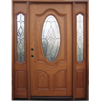 Solid Wood Ash Oval with Sidelights Exterior Pre-Hung Door