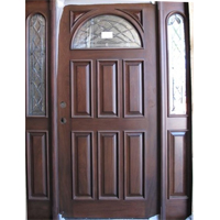 Solid Wood Cherry Half Moon With Sidelights Exterior Pre-Hung Door