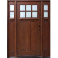 Solid Wood Cherry Exterior Pre-Hung Door with Sidelights