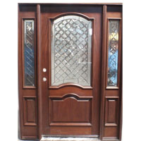 Solid Wood Cherry Double Arch Contemporary Glass With Sidelights Exterior Pre-Hung Door