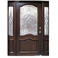Solid Wood Cherry Double Arch Victorian Glass With Sidelights Exterior Pre-Hung Door