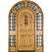 Solid Wood Knotty Alder Arched 8' Exterior Door with Sidelights