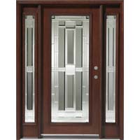 Solid Wood Mahogany Full Light With Sidelights Exterior Pre Hung Door