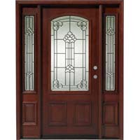 Solid Wood Mahogany Camber Top With Sidelights Exterior Pre Hung Door