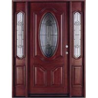 Solid Wood Mahogany Oval Contemporary Glass With Sidelights Exterior Pre-Hung Door