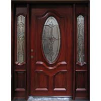 ... Solid Wood Mahogany Oval Victorian Glass With Sidelights Exterior  Pre Hung Door