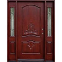 Solid Wood Mahogany Double Arch Without Glass With Sidelights Exterior Pre-Hung Door