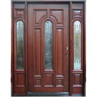 Solid Wood Mahogany Center Arch With Sidelights Exterior Pre-Hung Door