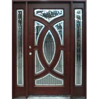 Solid Wood Mahogany Circular Deluxe With Sidelights Exterior Pre-Hung Door