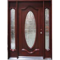 Solid Wood Mahogany Full Oval With Sidelights Exterior Pre-Hung Door