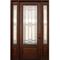 Solid Wood Mahogany 8' Pre-Hung Full Light Exterior Door