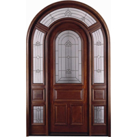 Arch Top w/ Surround Mahogany 1/2 Lite Solid Wood Entry Door