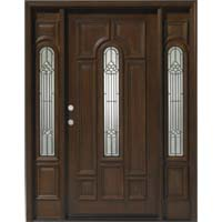 Solid Wood Teak Center Arch With Sidelights Exterior Pre-Hung Door