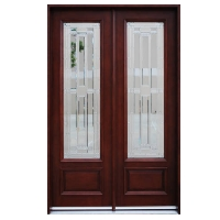 Double Mahogany Full Lite Solid Wood Entry Door