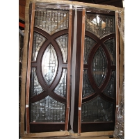 "Solid Wood Mahogany Front Unit Pre-hung & Finished, a pair of 36"" Double Door Center Arch"
