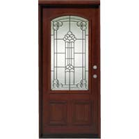 "Solid Wood Mahogany 36"" Light Arch Pre-Hung Exterior Door"