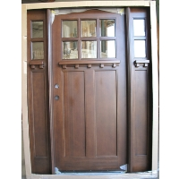 Triple Mahogany 6-Lite Craftsman Solid Wood Entry Door