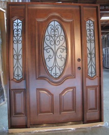 Triple Mahogany Deluxe Oval With Frosted Glass Solid Wood