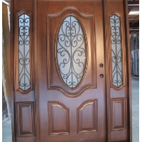 Triple Mahogany Deluxe Oval with Frosted Glass Solid Wood Entry Door